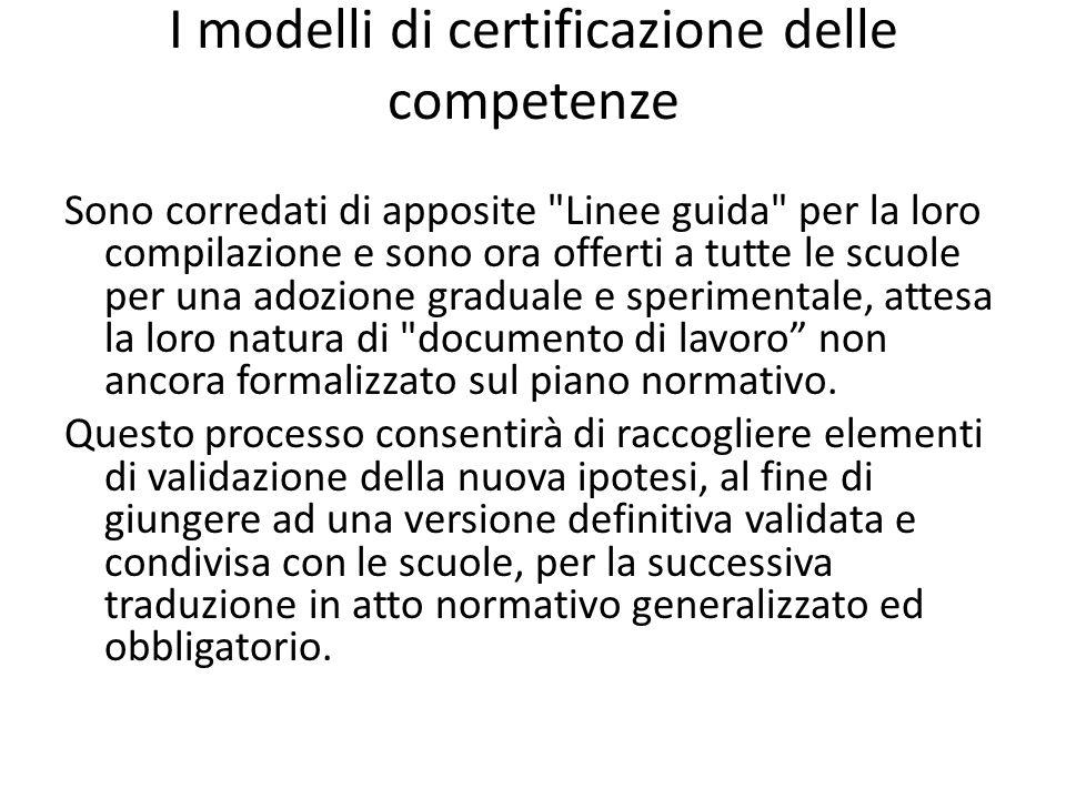 I modelli di certificazione delle competenze