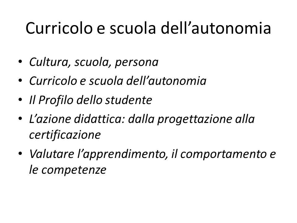 Curricolo e scuola dell'autonomia