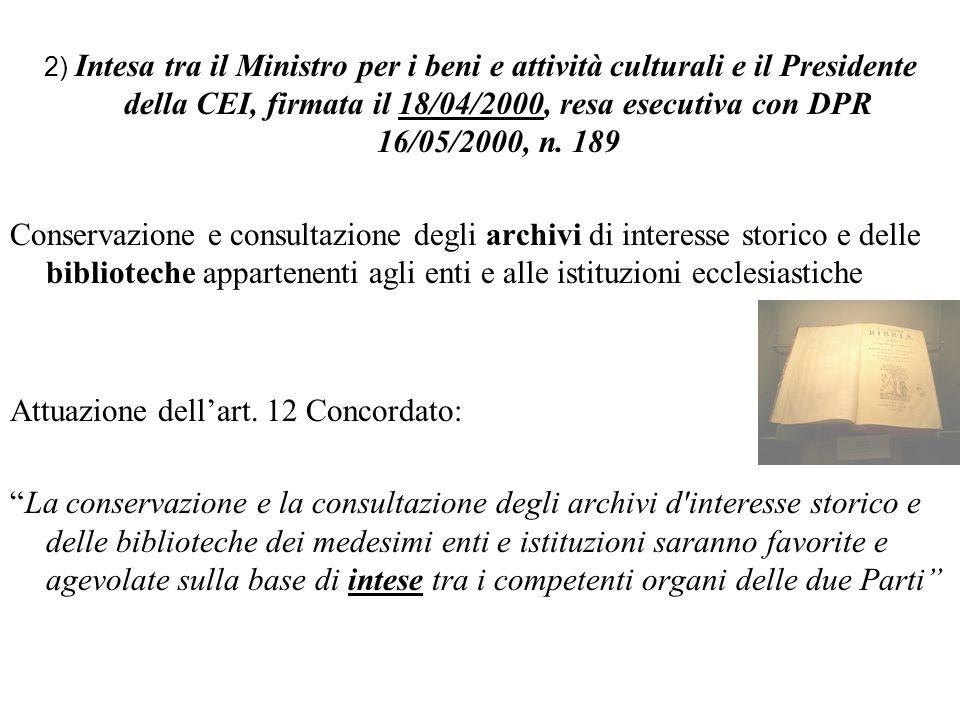 Attuazione dell'art. 12 Concordato: