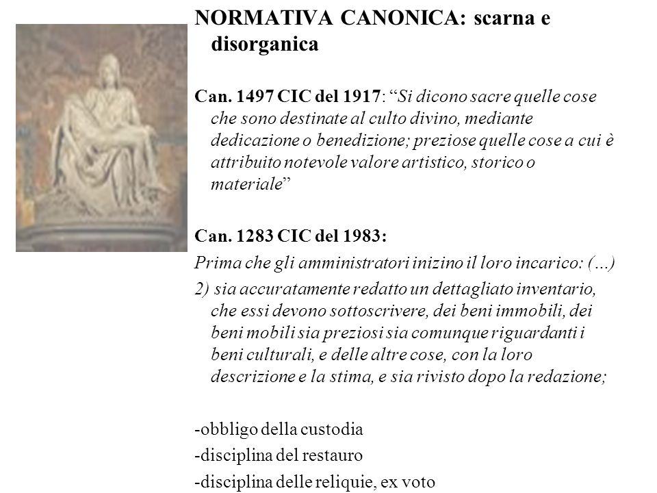 NORMATIVA CANONICA: scarna e disorganica