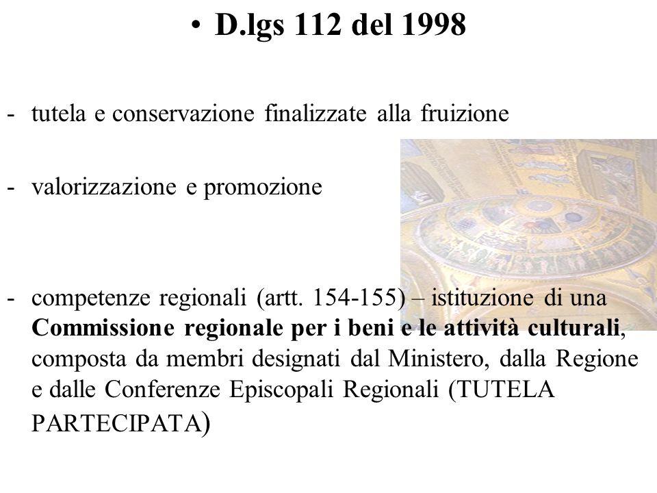 D.lgs 112 del 1998 tutela e conservazione finalizzate alla fruizione