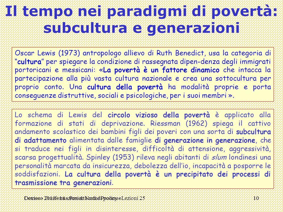 Il tempo nei paradigmi di povertà: subcultura e generazioni