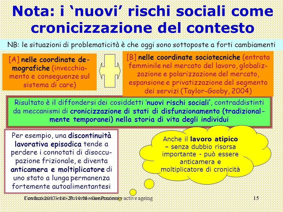 Nota: i 'nuovi' rischi sociali come cronicizzazione del contesto