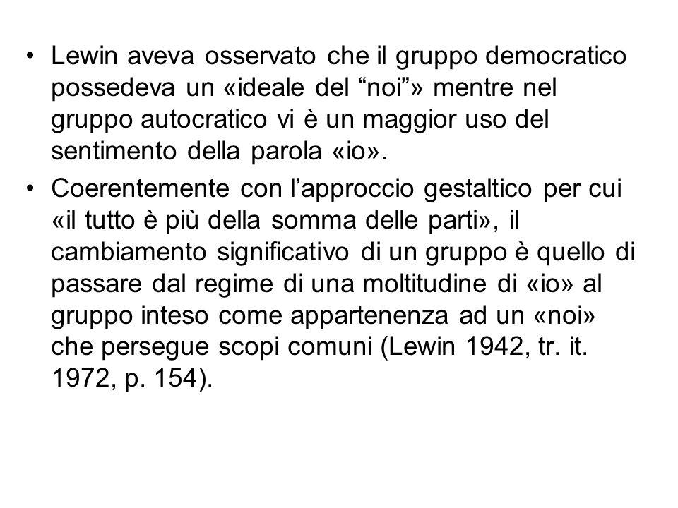 Lewin aveva osservato che il gruppo democratico possedeva un «ideale del noi » mentre nel gruppo autocratico vi è un maggior uso del sentimento della parola «io».