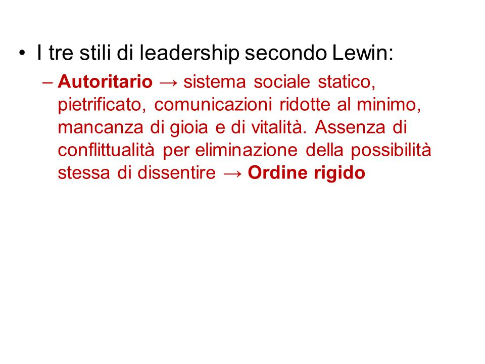 I tre stili di leadership secondo Lewin: