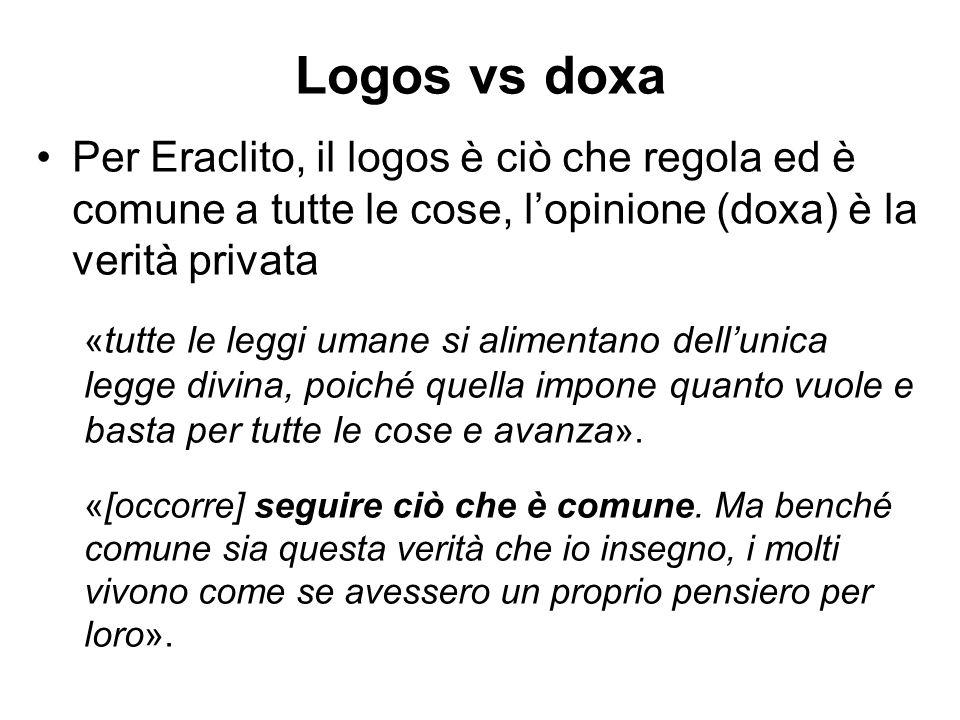 Logos vs doxa Per Eraclito, il logos è ciò che regola ed è comune a tutte le cose, l'opinione (doxa) è la verità privata.