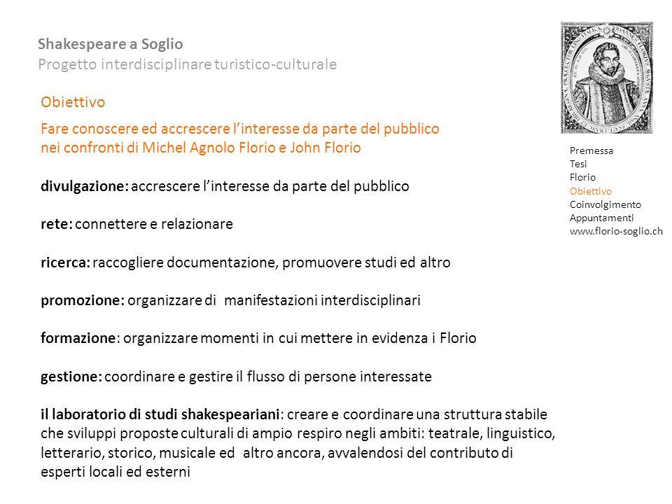 Obiettivo Fare conoscere ed accrescere l'interesse da parte del pubblico. nei confronti di Michel Agnolo Florio e John Florio.