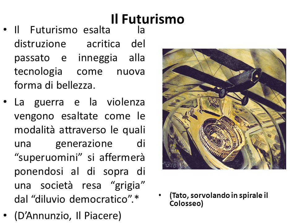 Il Futurismo Il Futurismo esalta la distruzione acritica del passato e inneggia alla tecnologia come nuova forma di bellezza.