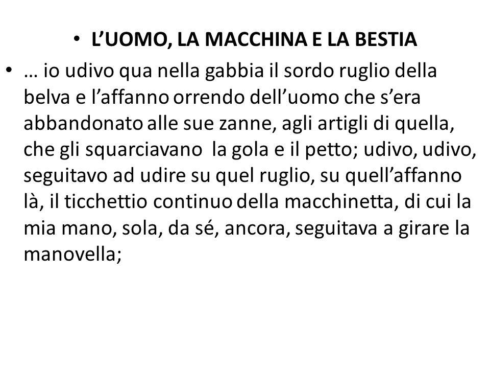 L'UOMO, LA MACCHINA E LA BESTIA