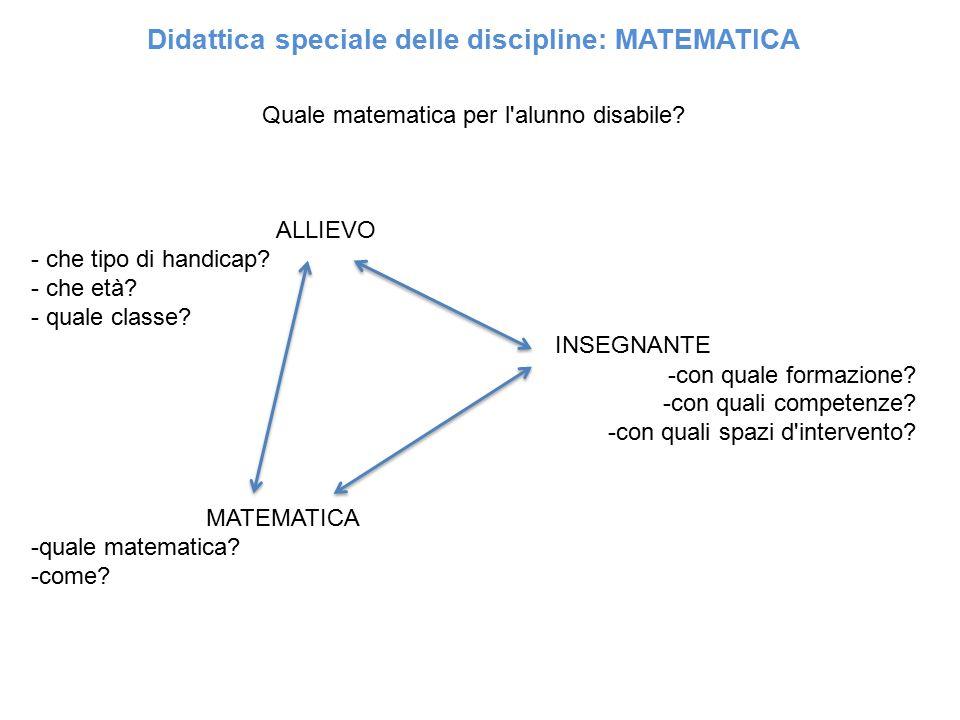 Didattica speciale delle discipline: MATEMATICA