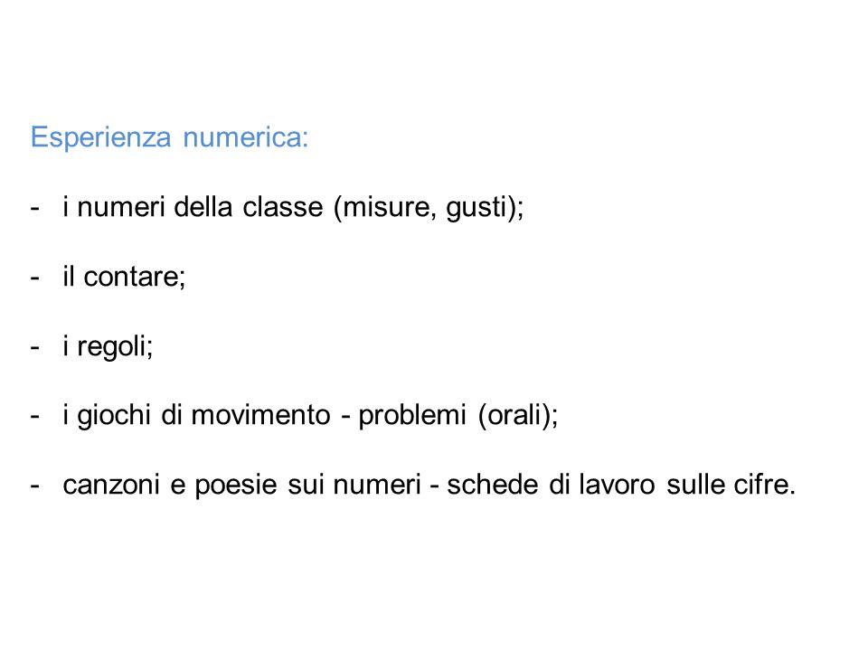 Esperienza numerica: i numeri della classe (misure, gusti); il contare; i regoli; i giochi di movimento - problemi (orali);