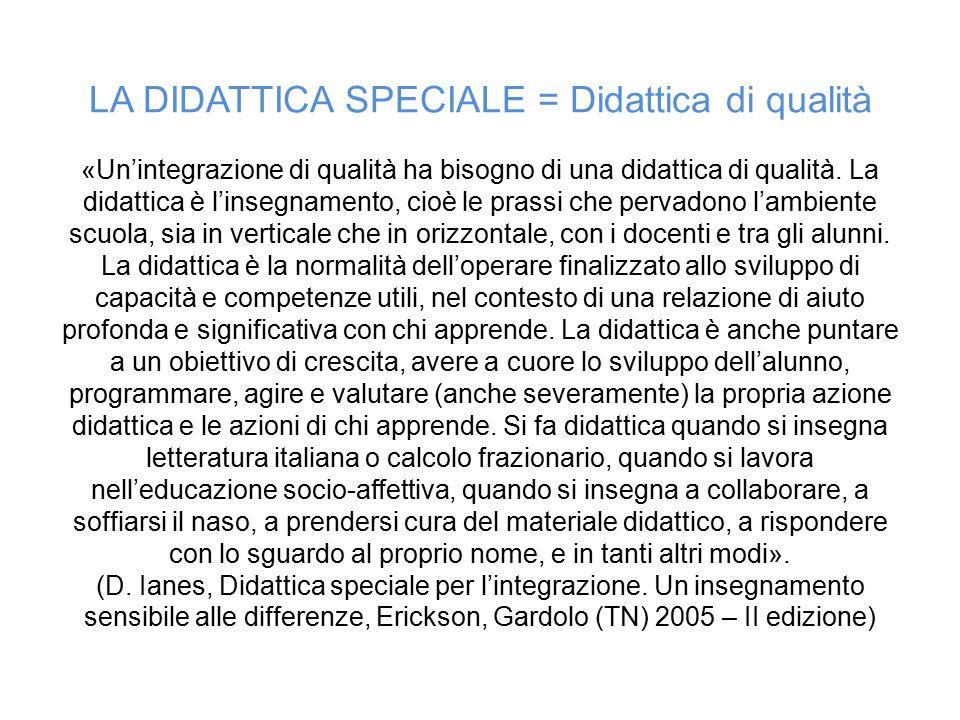 LA DIDATTICA SPECIALE = Didattica di qualità «Un'integrazione di qualità ha bisogno di una didattica di qualità.
