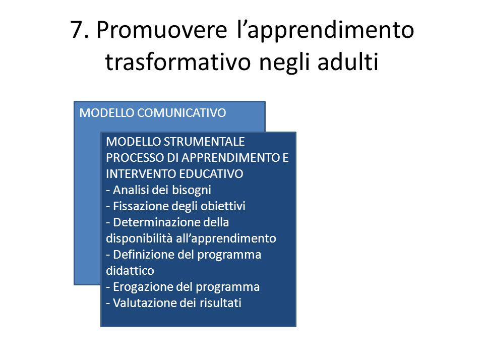 7. Promuovere l'apprendimento trasformativo negli adulti