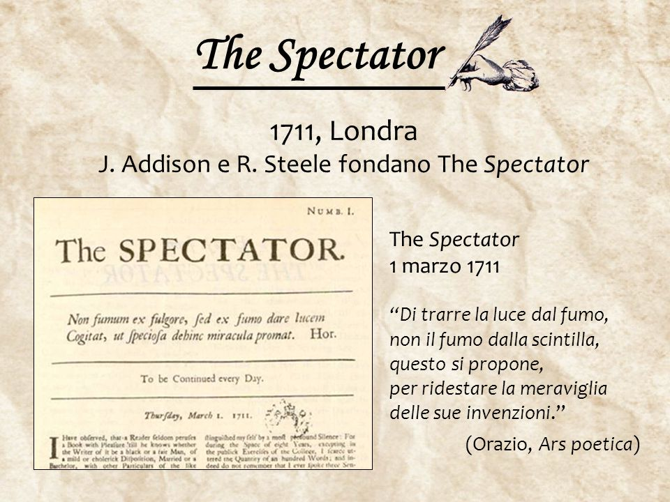 1711, Londra J. Addison e R. Steele fondano The Spectator