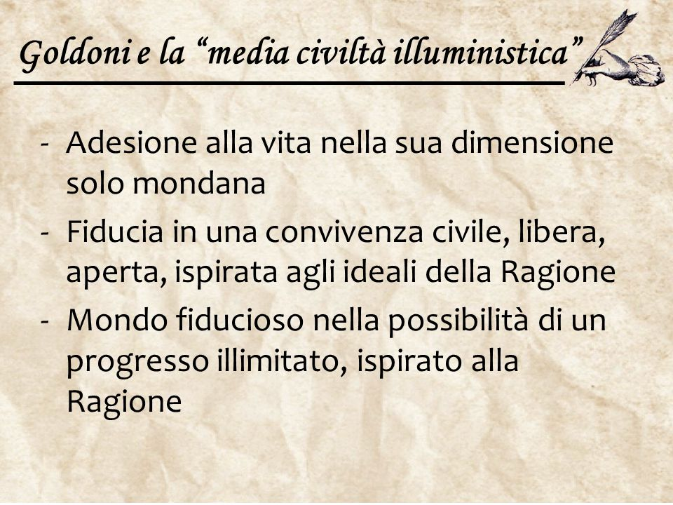 Goldoni e la media civiltà illuministica