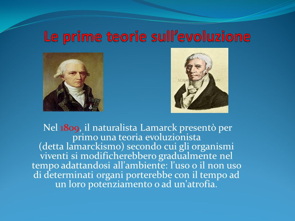 Le prime teorie sull'evoluzione