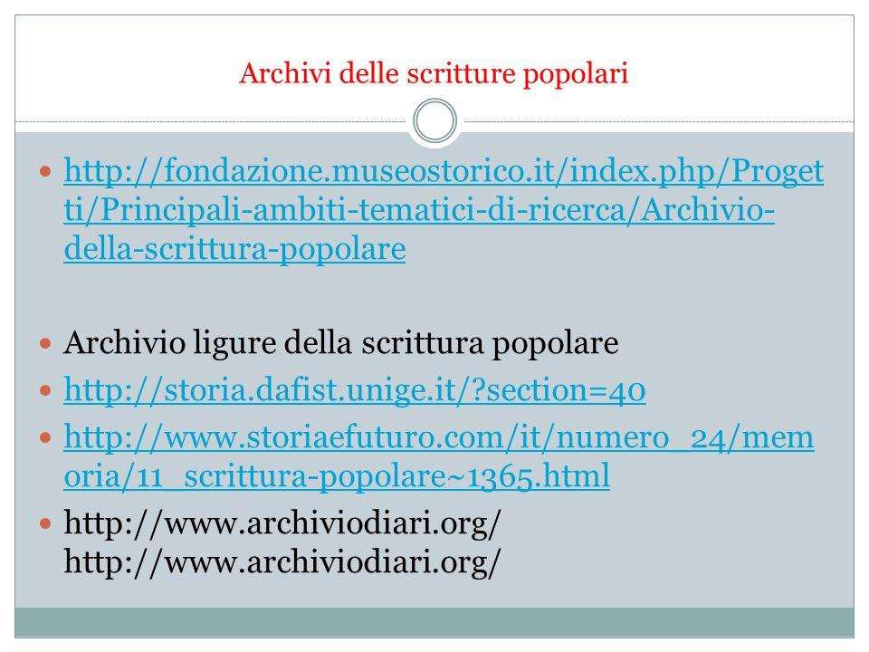 Archivi delle scritture popolari