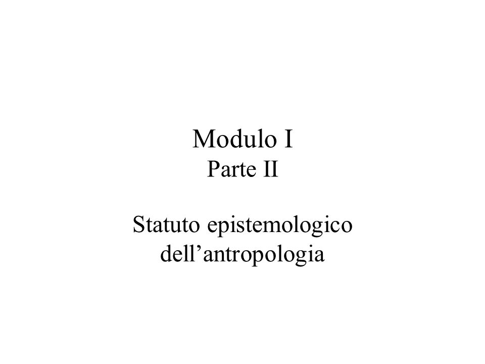 Statuto epistemologico dell'antropologia