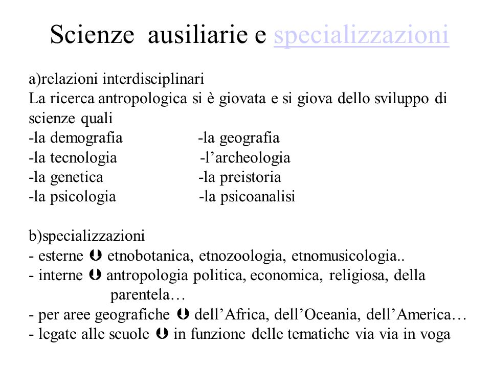 Scienze ausiliarie e specializzazioni