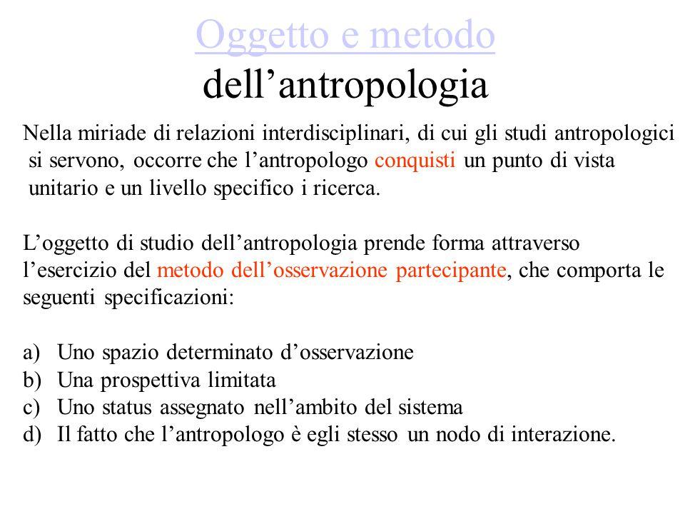 Oggetto e metodo dell'antropologia