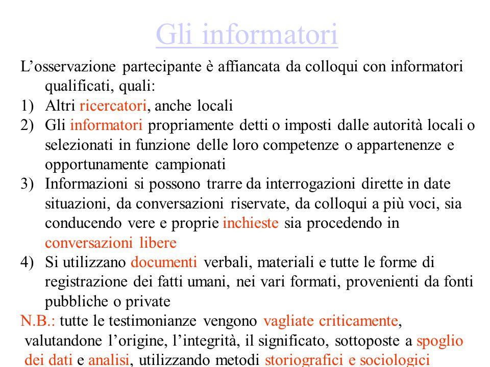 Gli informatori L'osservazione partecipante è affiancata da colloqui con informatori qualificati, quali: