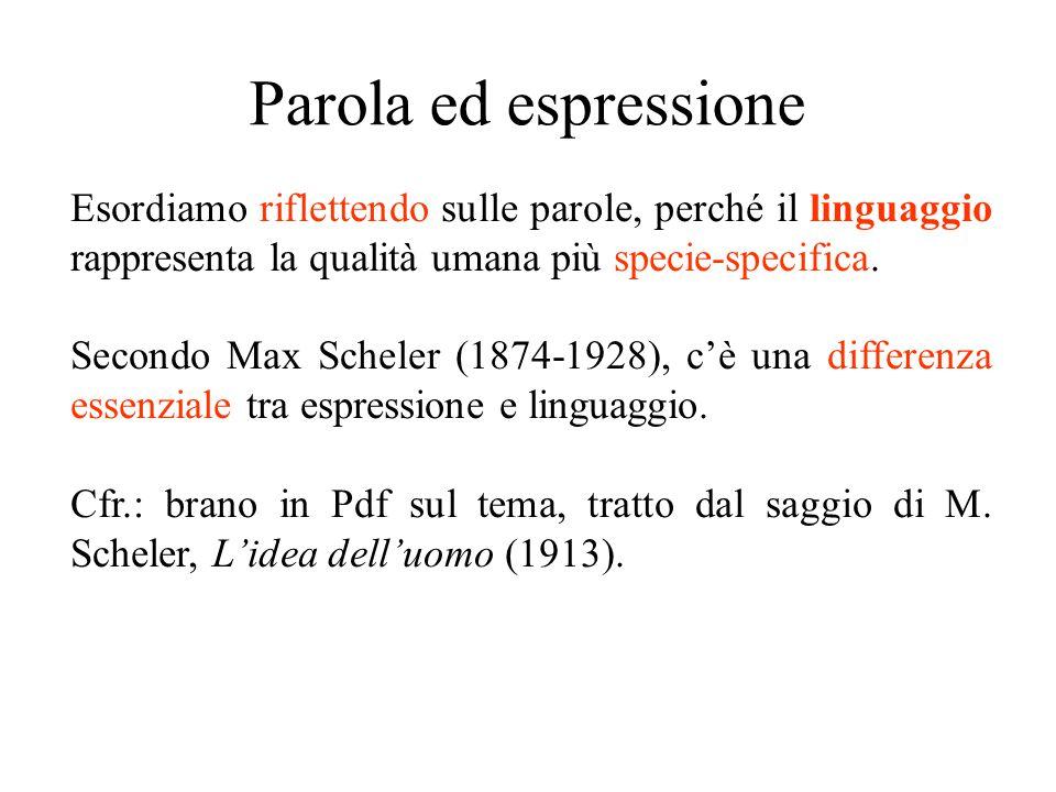 Parola ed espressione Esordiamo riflettendo sulle parole, perché il linguaggio rappresenta la qualità umana più specie-specifica.