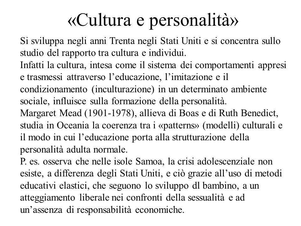 «Cultura e personalità»