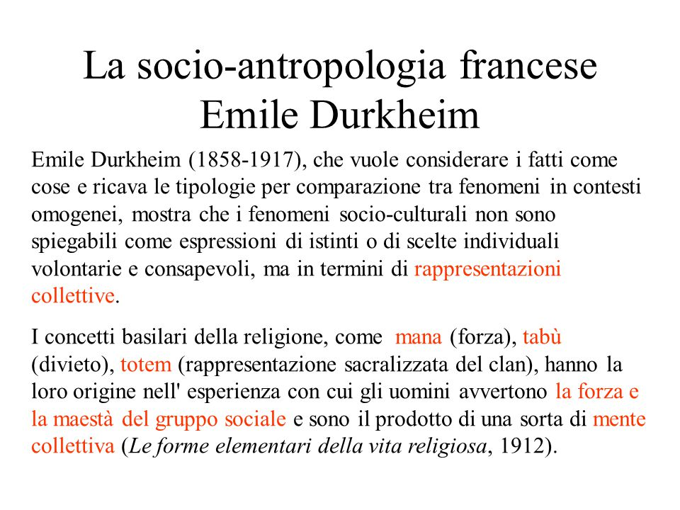 La socio-antropologia francese Emile Durkheim