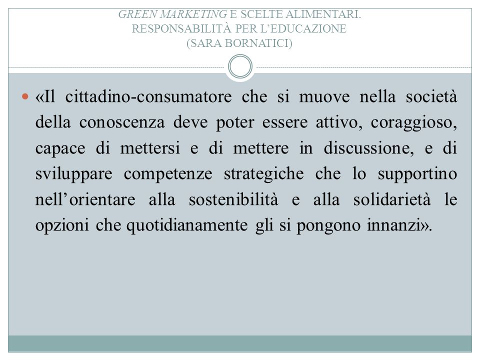 Green marketing e scelte alimentari