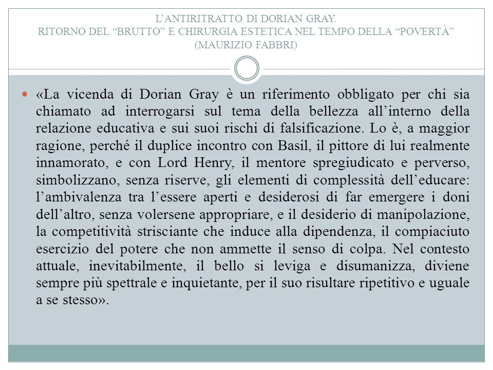 L'antiritratto di Dorian Gray