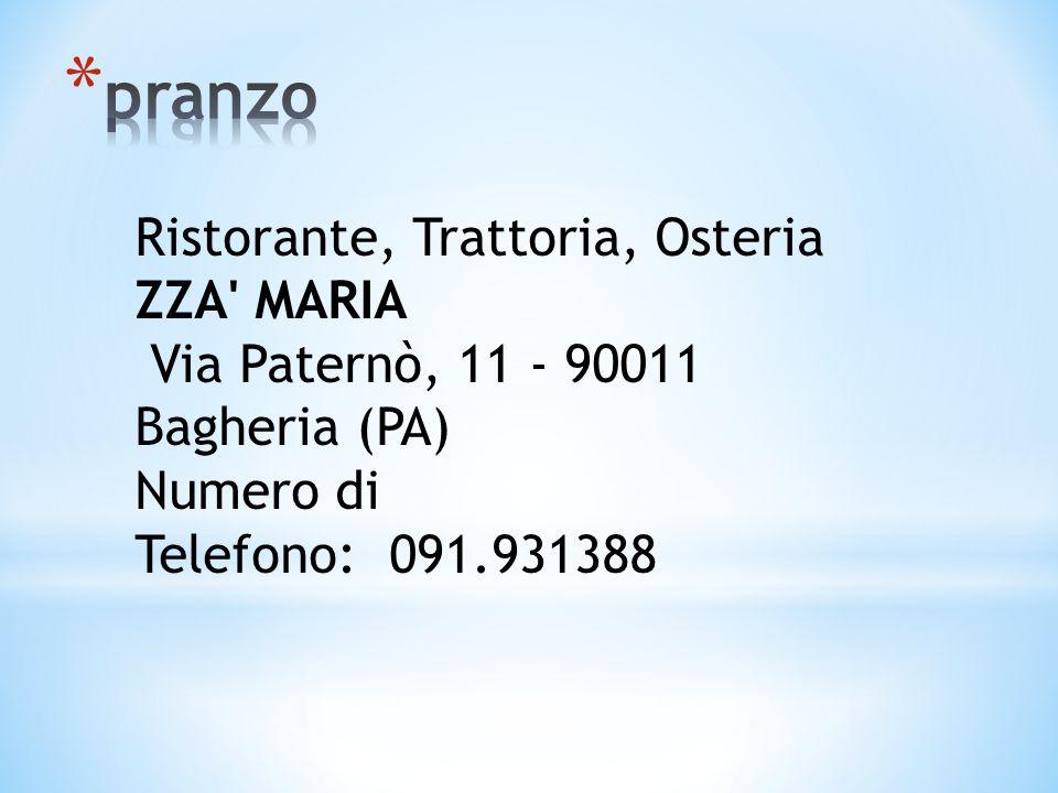 pranzo Ristorante, Trattoria, Osteria ZZA MARIA