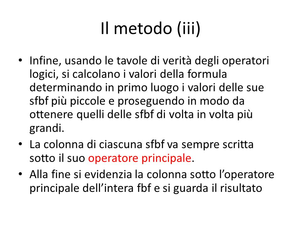 Il metodo (iii)