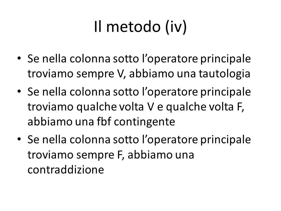 Il metodo (iv) Se nella colonna sotto l'operatore principale troviamo sempre V, abbiamo una tautologia.