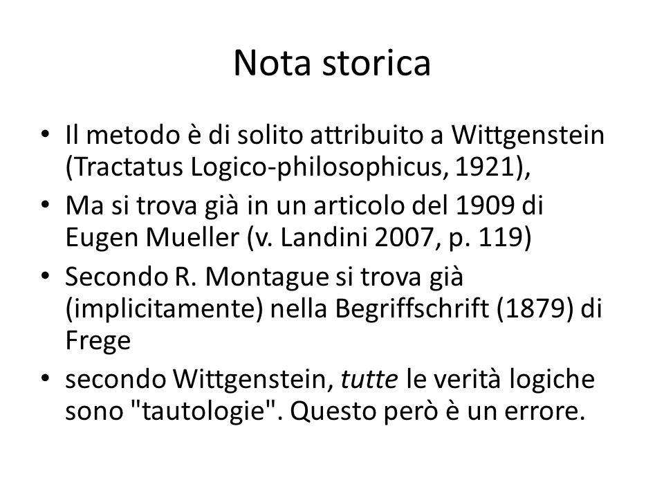 Nota storica Il metodo è di solito attribuito a Wittgenstein (Tractatus Logico-philosophicus, 1921),
