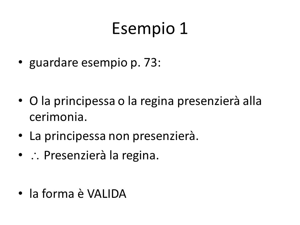Esempio 1 guardare esempio p. 73: