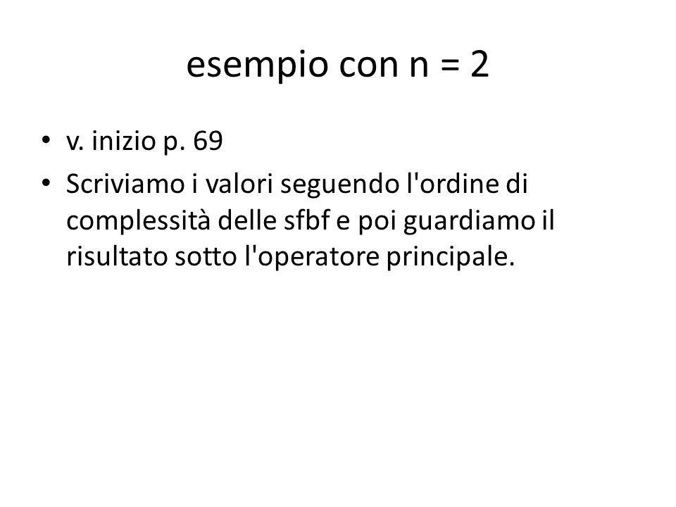 esempio con n = 2 v. inizio p. 69