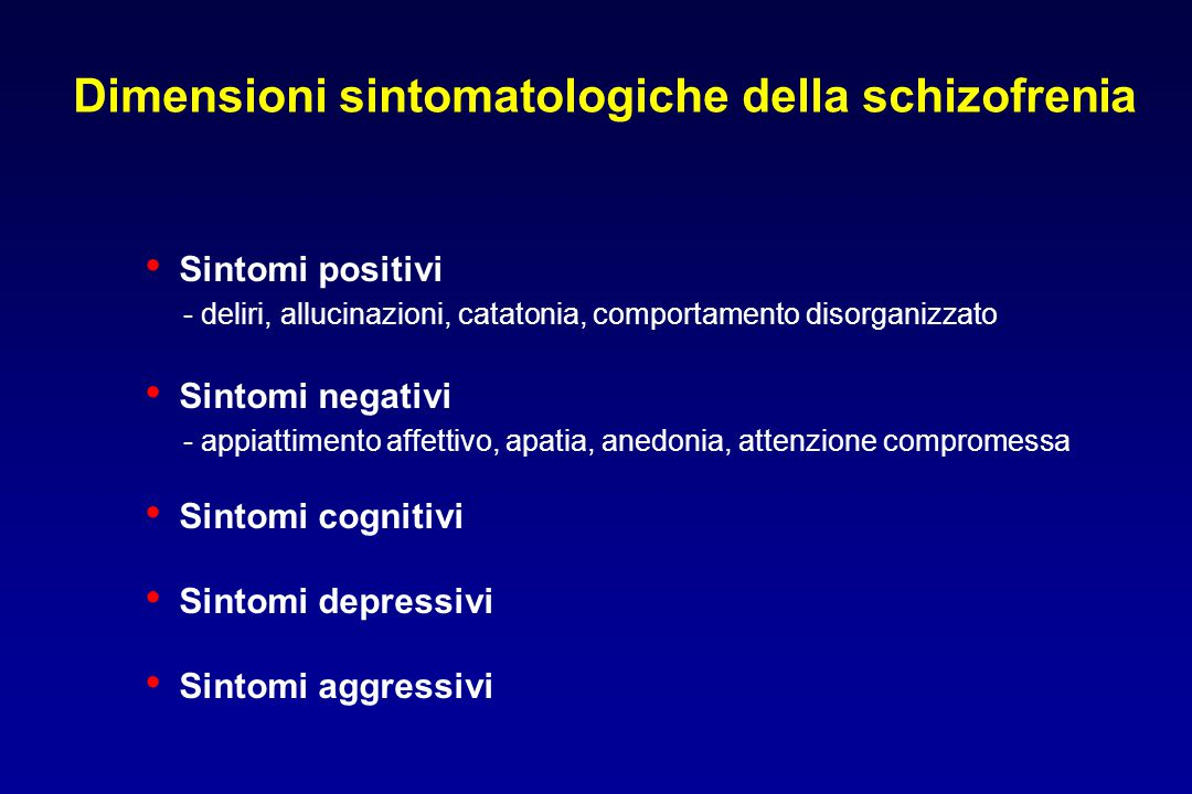 Dimensioni sintomatologiche della schizofrenia