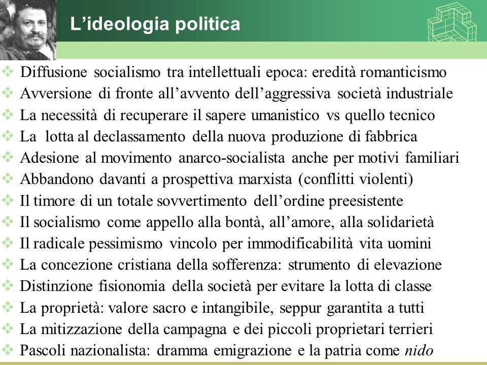 L'ideologia politica Diffusione socialismo tra intellettuali epoca: eredità romanticismo.