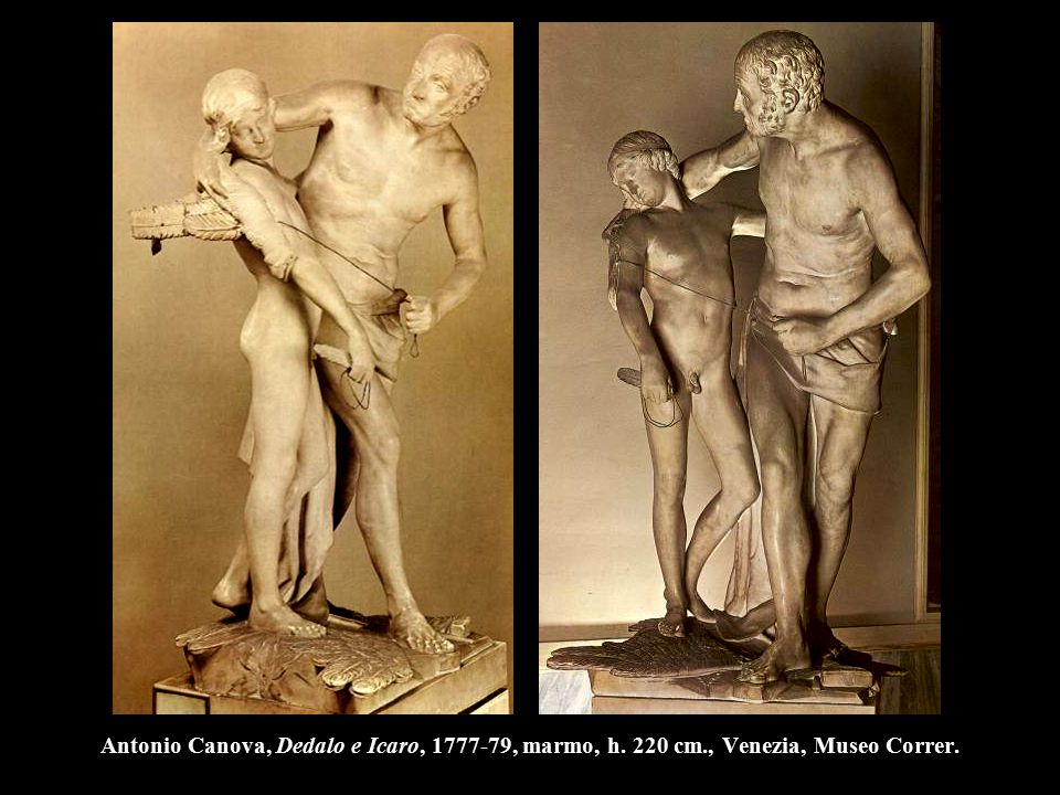 Antonio Canova, Dedalo e Icaro, 1777-79, marmo, h. 220 cm