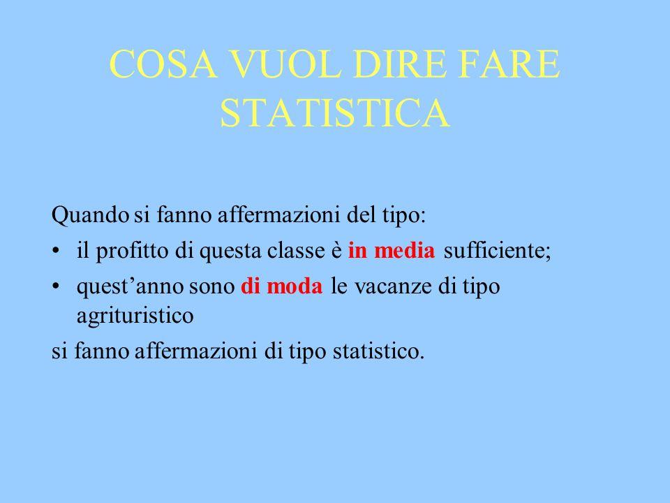 COSA VUOL DIRE FARE STATISTICA