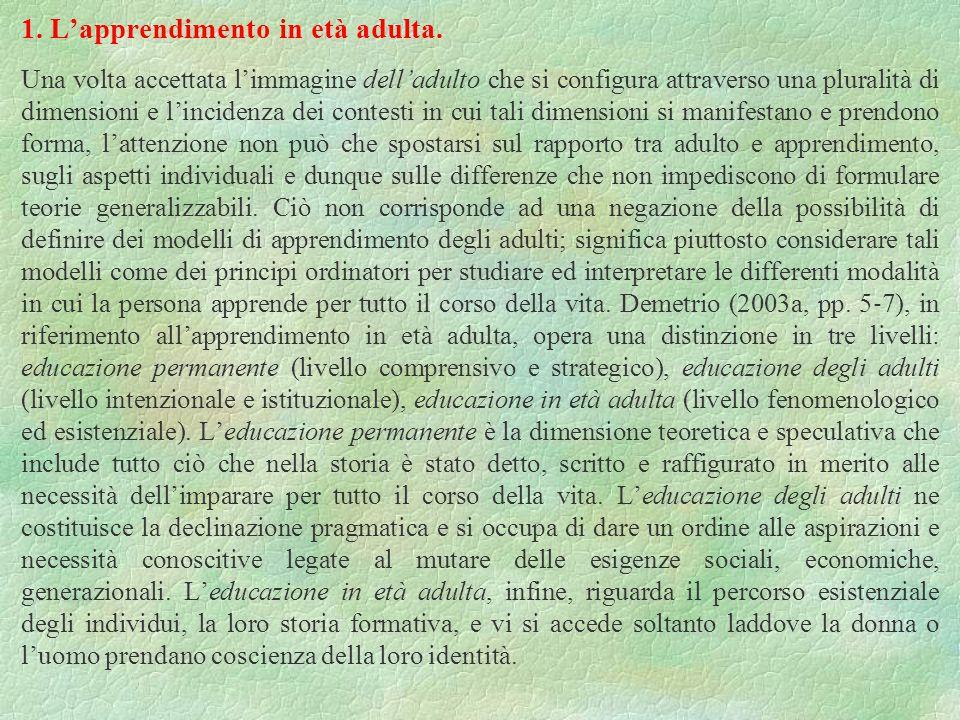 1. L'apprendimento in età adulta.