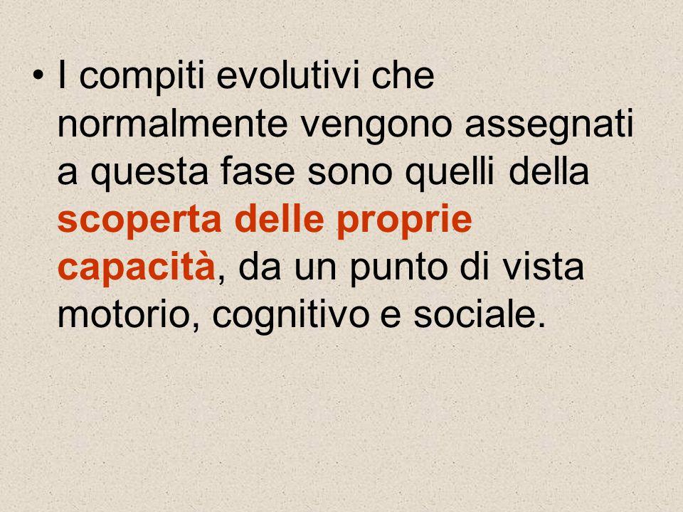 I compiti evolutivi che normalmente vengono assegnati a questa fase sono quelli della scoperta delle proprie capacità, da un punto di vista motorio, cognitivo e sociale.
