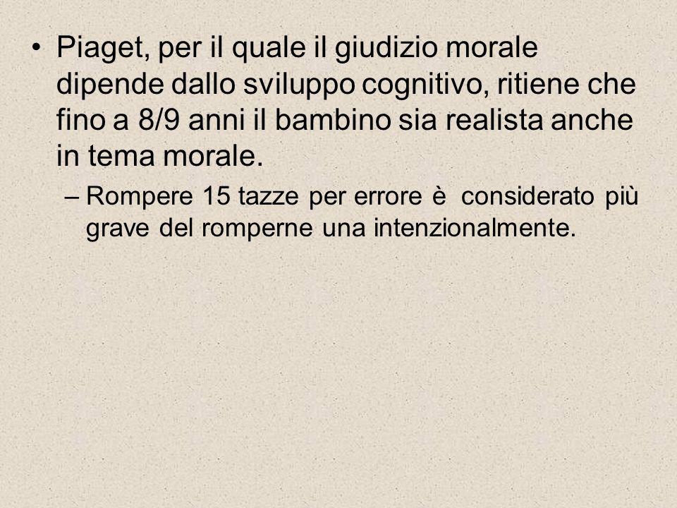 Piaget, per il quale il giudizio morale dipende dallo sviluppo cognitivo, ritiene che fino a 8/9 anni il bambino sia realista anche in tema morale.