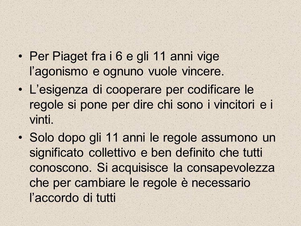 Per Piaget fra i 6 e gli 11 anni vige l'agonismo e ognuno vuole vincere.