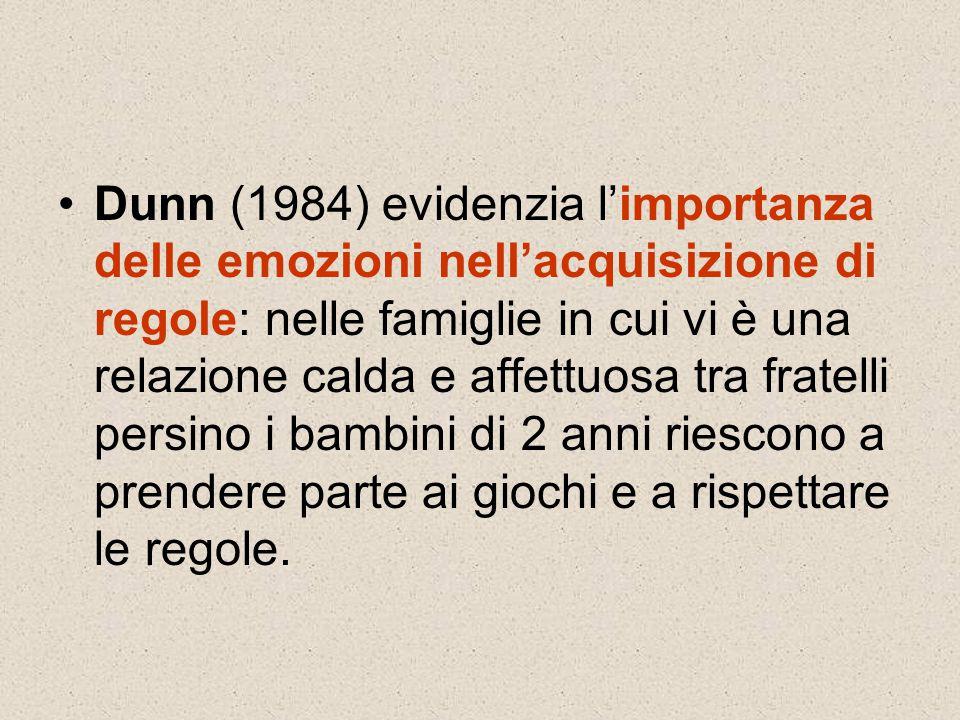 Dunn (1984) evidenzia l'importanza delle emozioni nell'acquisizione di regole: nelle famiglie in cui vi è una relazione calda e affettuosa tra fratelli persino i bambini di 2 anni riescono a prendere parte ai giochi e a rispettare le regole.