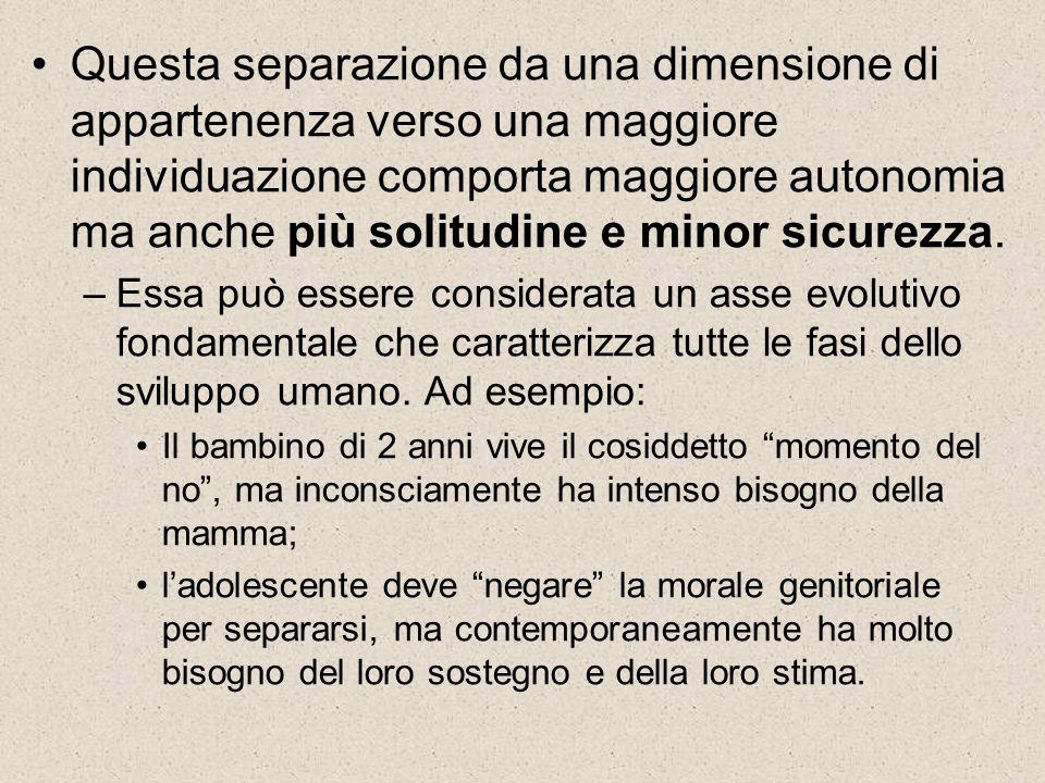 Questa separazione da una dimensione di appartenenza verso una maggiore individuazione comporta maggiore autonomia ma anche più solitudine e minor sicurezza.