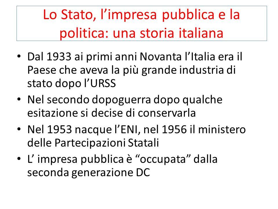 Lo Stato, l'impresa pubblica e la politica: una storia italiana