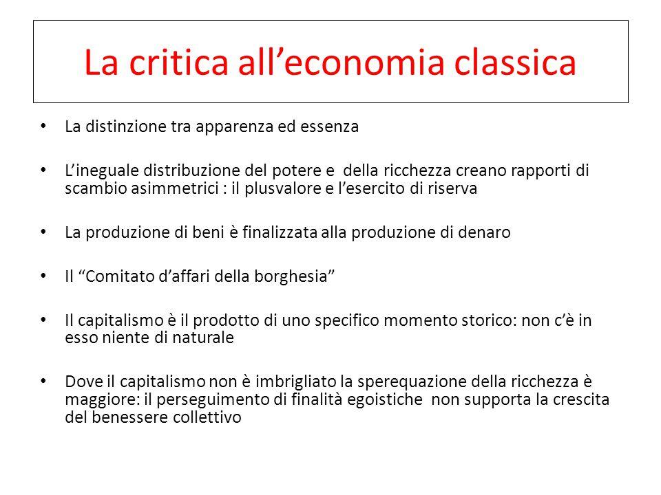 La critica all'economia classica