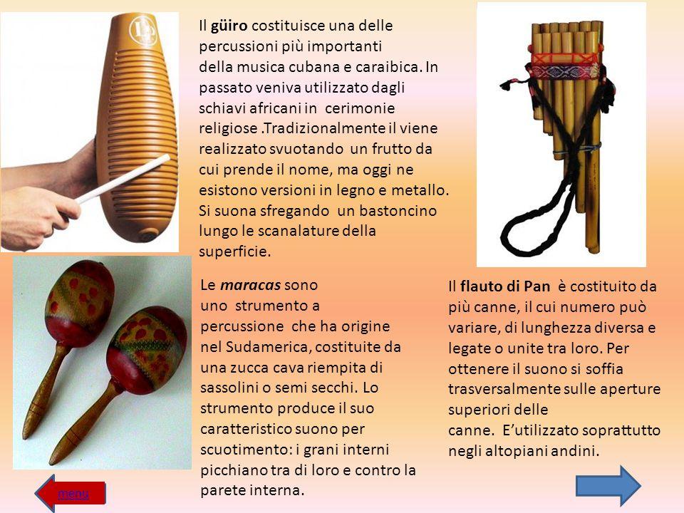 Il güiro costituisce una delle percussioni più importanti della musica cubana e caraibica. In passato veniva utilizzato dagli schiavi africani in cerimonie religiose .Tradizionalmente il viene realizzato svuotando un frutto da cui prende il nome, ma oggi ne esistono versioni in legno e metallo.