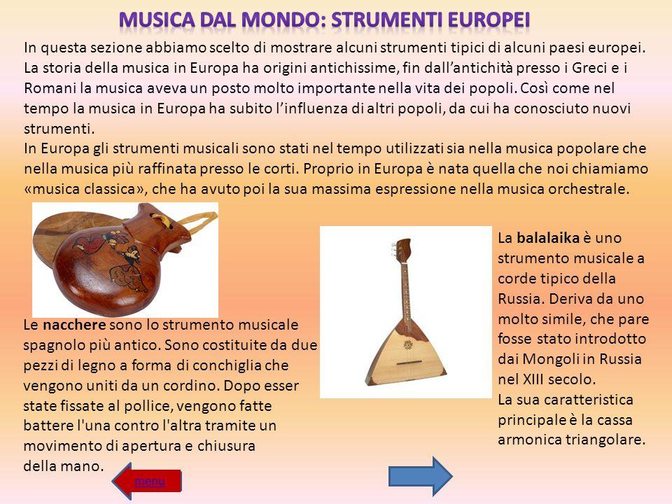 MUSICA DAL MONDO: STRUMENTI EUROPEI